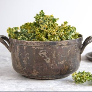 Kale chips in a serving bowl