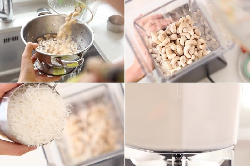 Draining soaked cashews and blending them with water and coconut