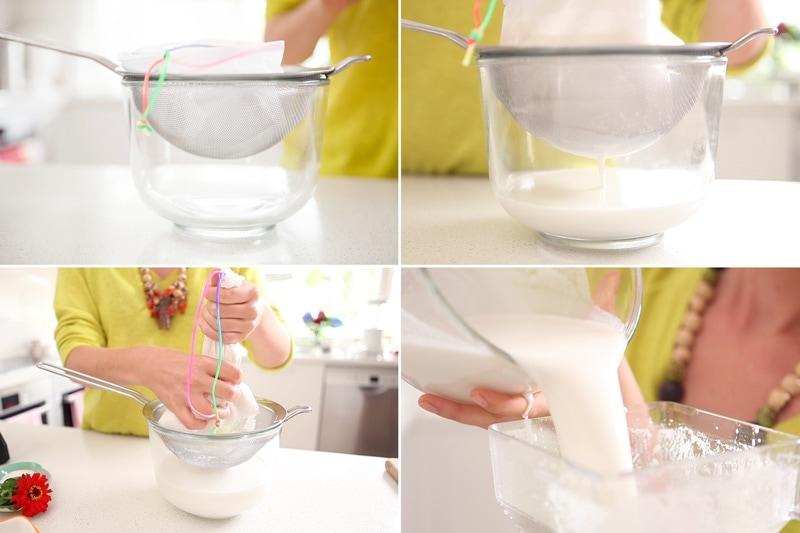 Straining the fresh, homemade cashew milk through a nut milk bag