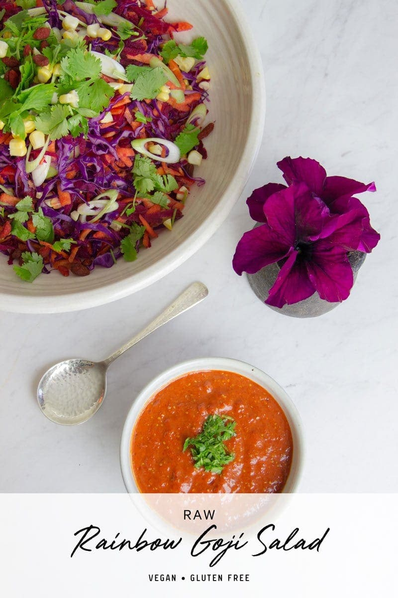 Raw Rainbow Salad with a tangy Goji Dressing. Full of protective phytonutrients! #rainbowsalad #rainbowslaw #goji #gojidressing #AscensionKitchen // Pin to your own inspiration board! //