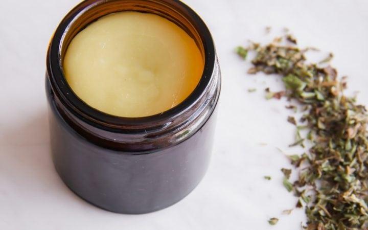Jar of homemade cold sore slave