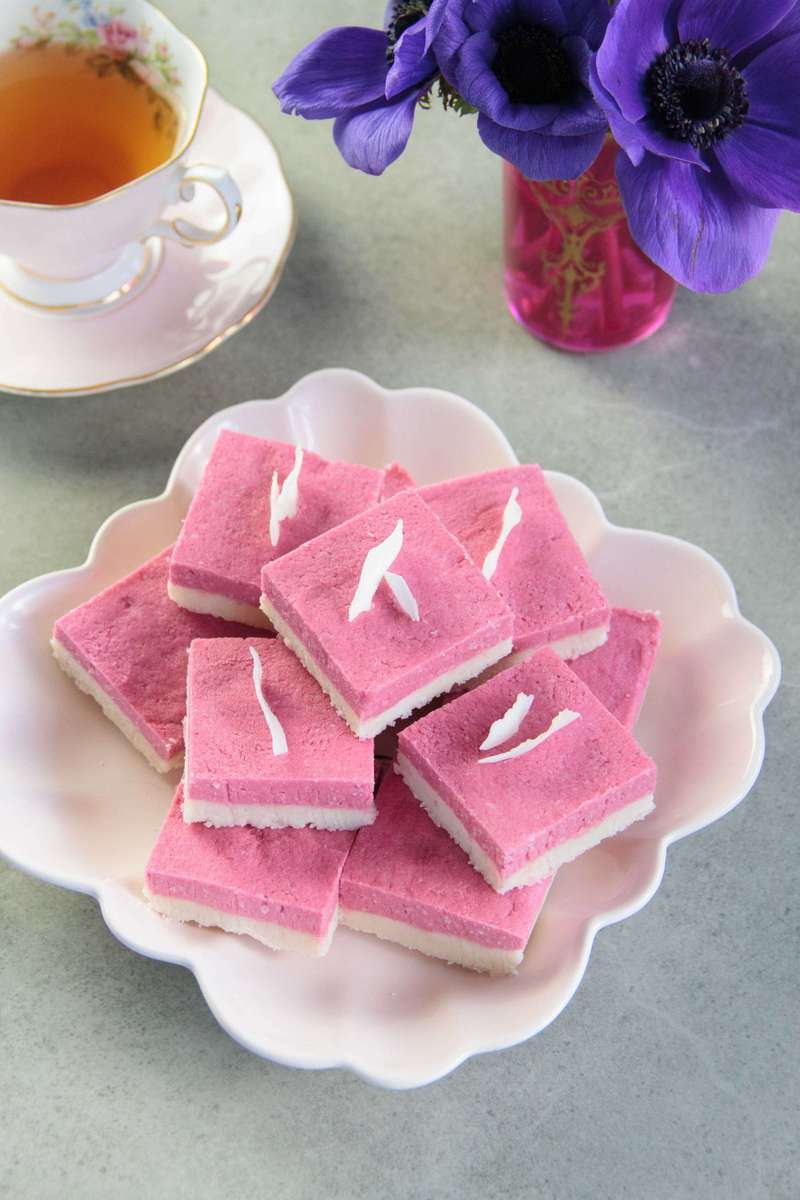 A plate filled with pretty pink coconut ice
