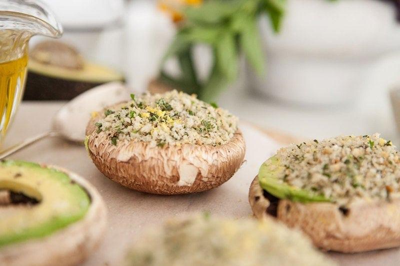 Avocado Herb Stuffed Mushrooms