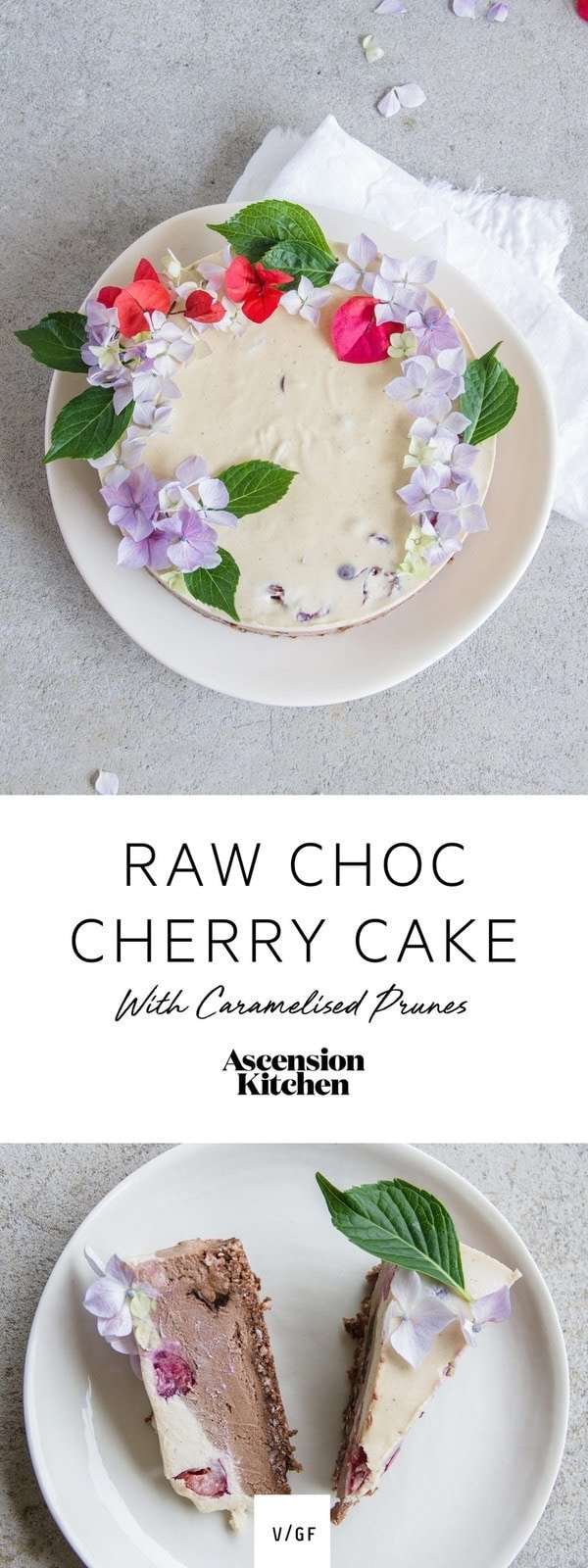 Raw Chocolate Cherry Cake with Caramelised Prunes - gluten free and vegan