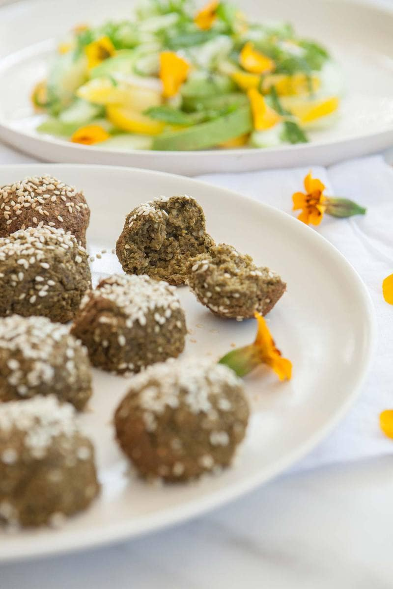 Healthy Baked Falafel with Turmeric Tahini Dressing