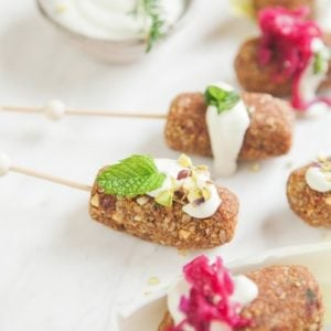Kofta on skewers that are vegan and made with nuts, seeds and spices.