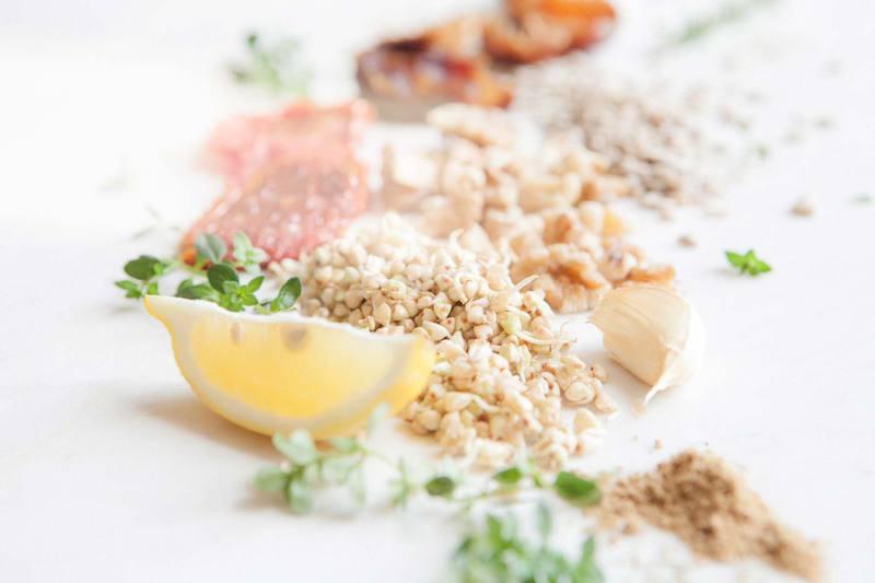 Ingredients used in a Raw Vegan Kofta with a Raw Minted Cashew Yoghurt