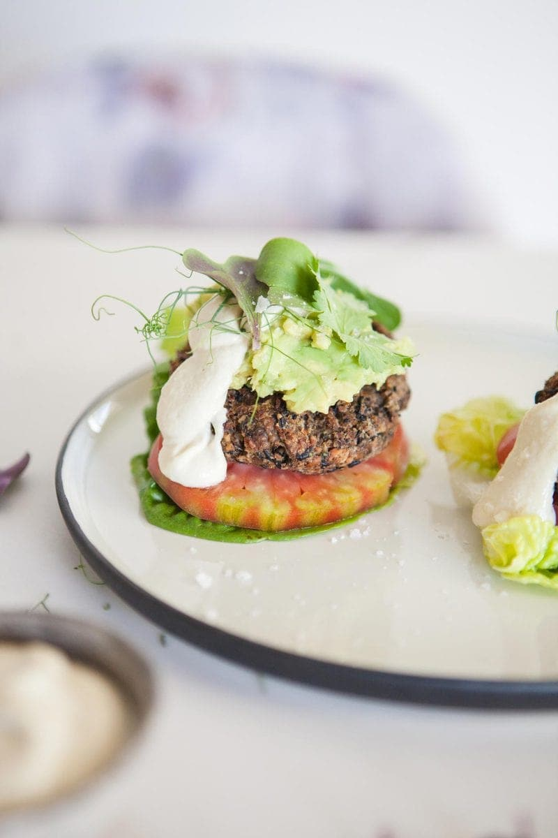 Sprouted Vegan Black Bean Burgers with raw Garlic Aioli