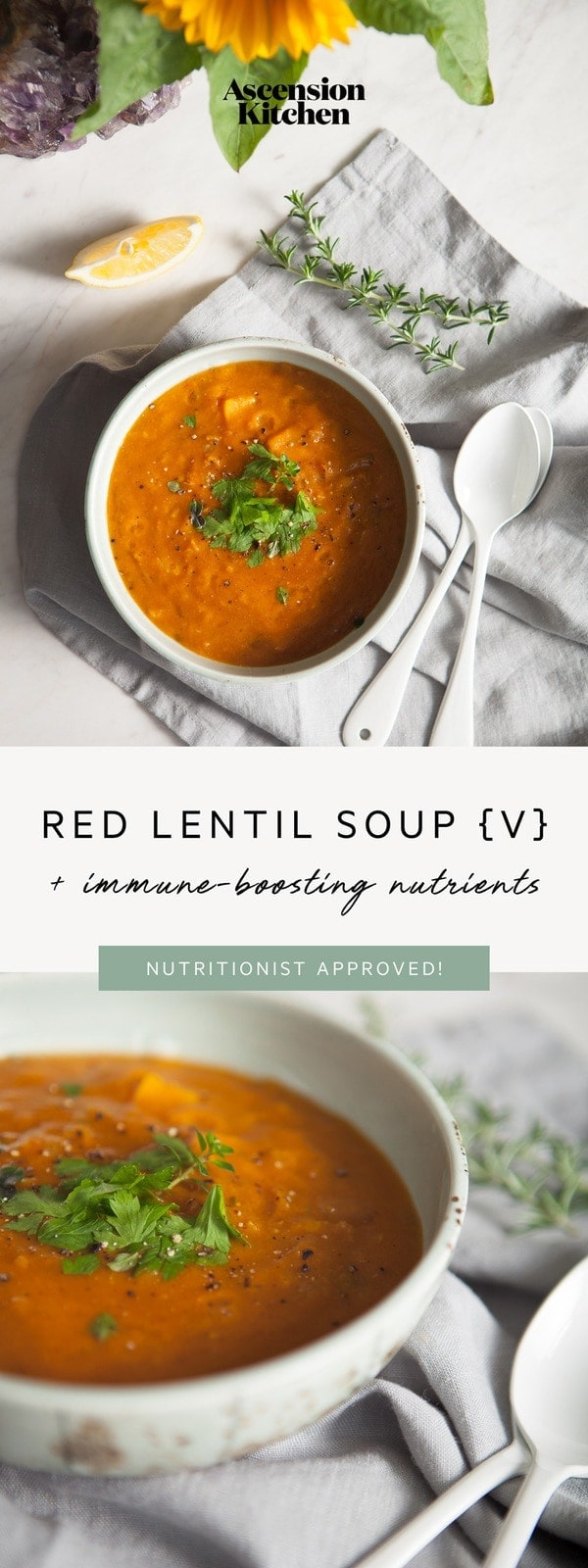 Nourishing Red Lentil Soup – entirely vegan with immune supportive nutrients. An easy mid-week meal. #vegansoup #weekdayrecipe #easymeal #soup #wintersoup #soupideas #immune #immunity #AscensionKitchen