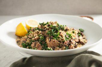 Quinoa Kale Mushroom Salad