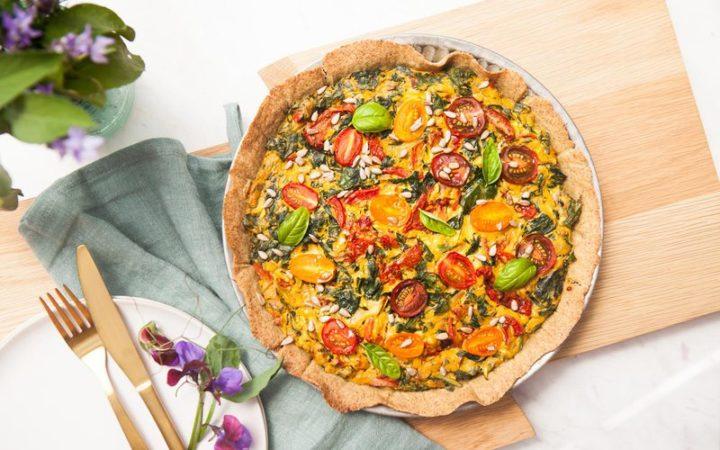 Gluten Free Sun-Dried Tomato Spinach Quiche