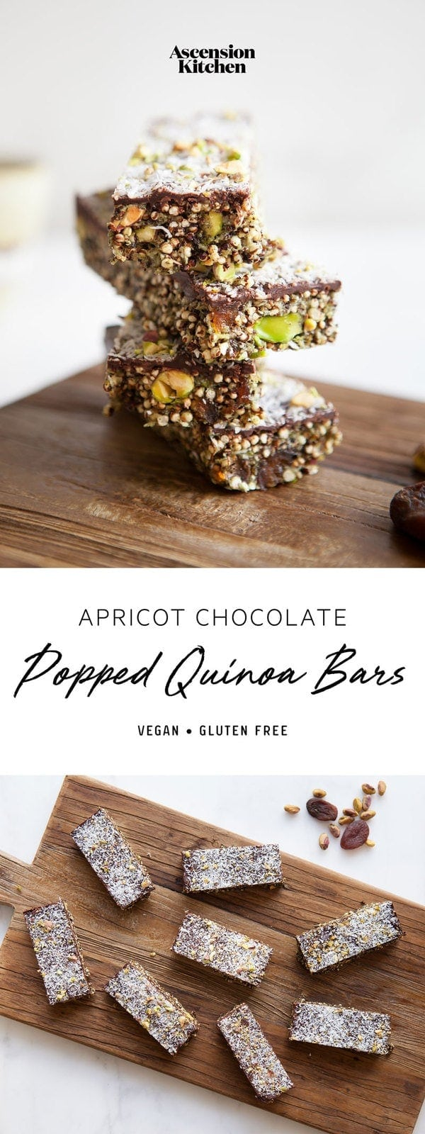 No bake Popped Quinoa Bars made with dried apricot and pistachio, with a layer of chocolate over the top. These homemade protein bars are great on the go! #quinoabars #nobakequinoabars #quinoabarshealthy #quinoabarsrecipes #quinoabarspuffed #quinoabarsprotein #quinoabarsvegan #quinoabarsnobake #quinoabarseasy #quinoabarsnooats #quinoabarsglutenfree #quinoabarskids #AscensionKitchen // Pin to your own inspiration board! //