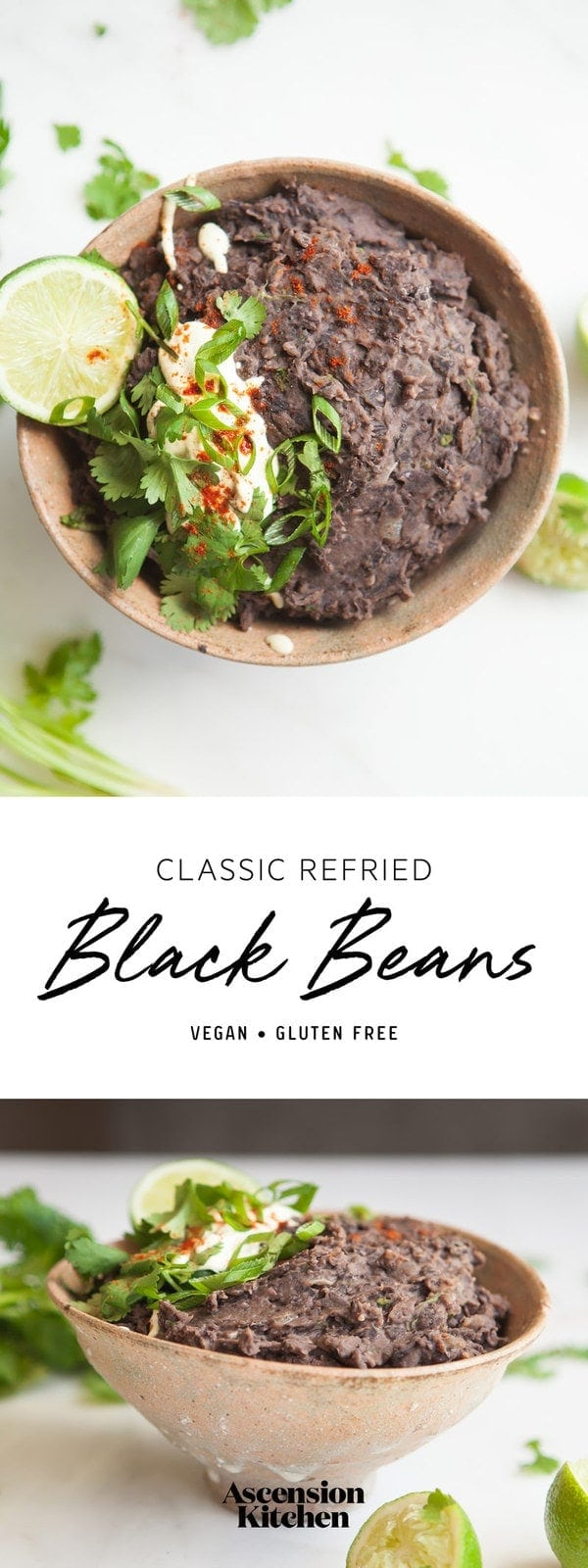 A classic homemade Refried Black Beans recipe – enjoy with tacos, burritos, nachos or simply with rice and vegetables. #blackbeansnutrition #blackbeansbenefits #refriedblackbeans #refriedblackbeansvegan #refriedblackbeanshomemade #refriedblackbeansrecipe #refriedblackbeansfromscratch #vegantacos #vegantacosrecipe #AscensionKitchen // Pin to your own inspiration board! //