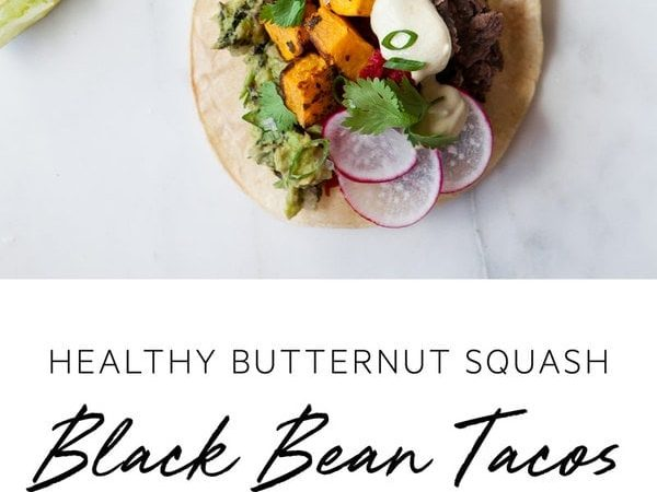 Healthy Butternut Squash Tacos with Refried Black Beans and a generous side of guacamole, of course! #butternutsquashtacos #butternutsquashtacosvegan #butternutsquashtacosblackbeans #butternutsquashtacoshealthy #butternutsquashtacosglutenfree #butternutsquashtacosrecipes #butternutsquashtacosdinners #vegantacos #vegantacosrecipe #AscensionKitchen // Pin to your own inspiration board! //