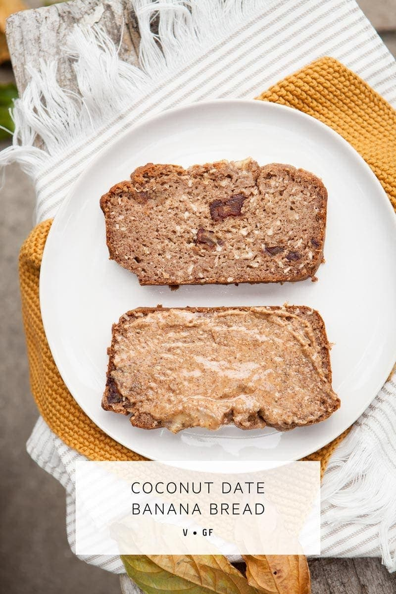 Gluten Free Vegan Banana Bread, no added sugar, sweetened naturally with coconut and whole dates. A family sized recipe. #glutenfreeveganbananabread #glutenfreeveganbananabreadeasy #glutenfreeveganbananabreadrecipe #glutenfreeveganbananabreadfamilies #veganbananabread #healthybakingrecipes #glutenfreedairyfreebananabread #AscensionKitchen  // Pin to your own inspiration board! //