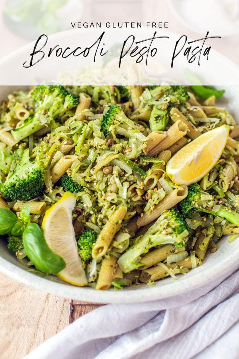 Broccoli Pasta with homemade basil pesto - a quick gluten free, vegan dinner. #broccolirecipe #veganpasta #glutenfreepasta #easydinner #familydinner #pesto #AscensionKitchen
