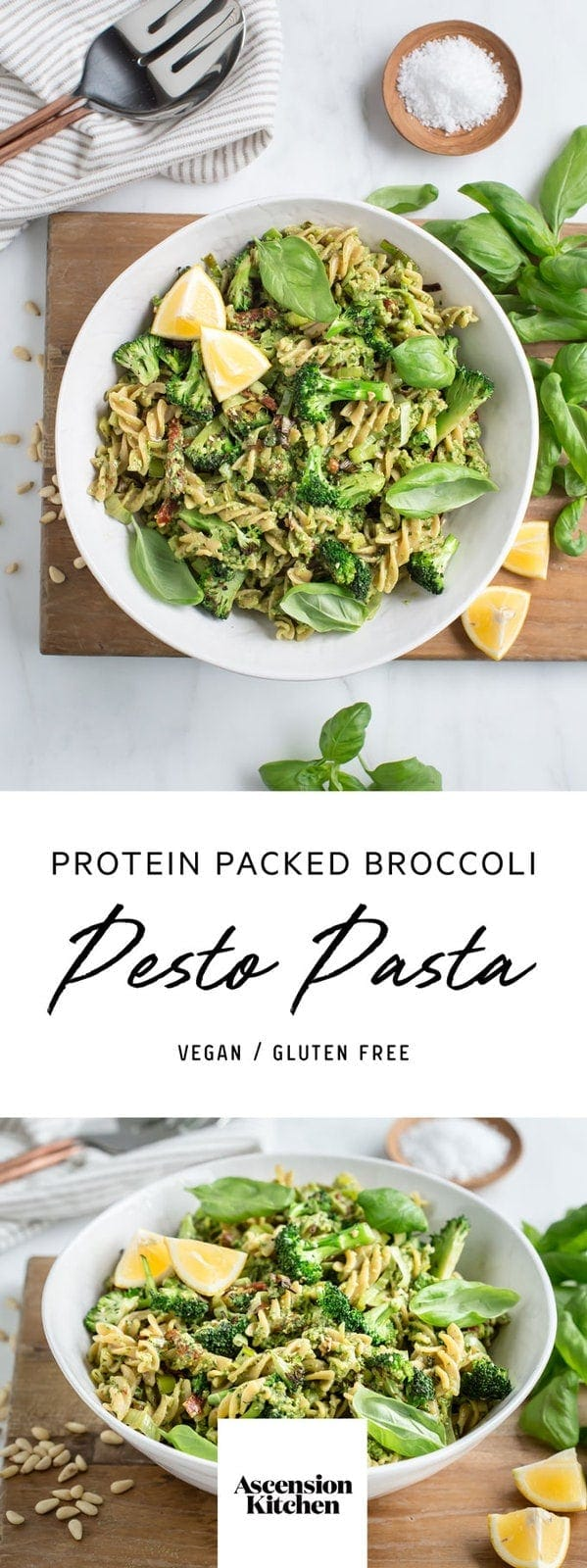 Vegan Broccoli Pesto Pasta – packed with protein, using chickpea fusilli. #broccolipestopasta #broccolipestopastavegan #legumepastarecipe #chickpeapastarecipe #broccolipestopastarecipes #veganpesto #veganpestorecipe #dairyfreepesto #AscensionKitchen // Pin to your own inspiration board! //