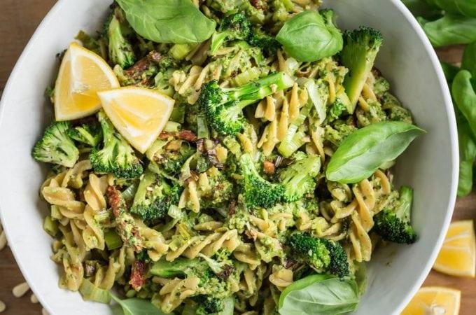 Protein Packed Broccoli Pesto Pasta – Dairy Free, Gluten Free