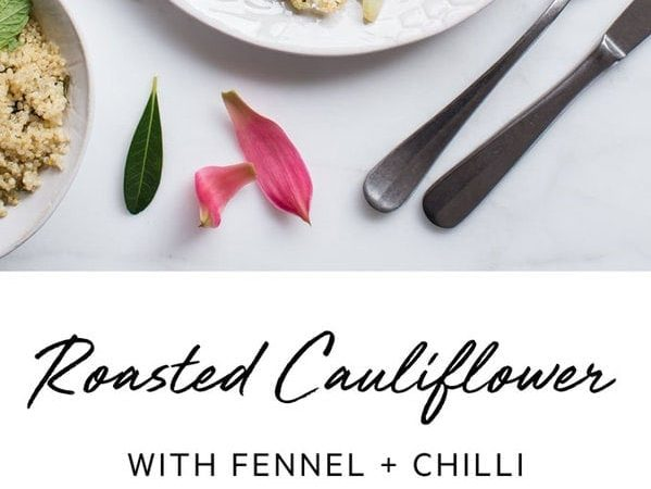 Roasted cauliflower florets with fennel and chilli. A delicious liver-loving side dish. #roastedcauliflowersalad #roastedcauliflowervegan #roastedcauliflowerrecipe #roastedcauliflowereasy #whole30recipes #veganrecipes #whole30dinner #AscensionKitchen // Pin to your own inspiration board! //