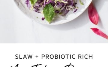 A healthy slaw with probiotic miso tahini dressing. #rainbowslaw #veganslaw #healthyslaw #slawrecipes #misotahinidressing #whole30recipes #veganrecipes #whole30dinner #AscensionKitchen // Pin to your own inspiration board! //