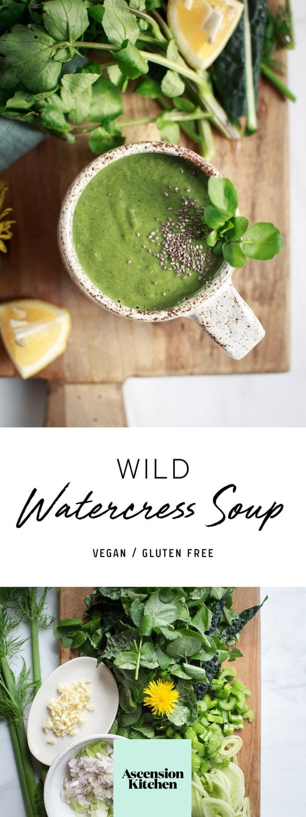 Watercress soup – the perfect spring cleanse. #DetoxSoup #WatercressSoup #HealthySoup #GreenSoup #VeganSoup #SoupRecipe #AscensionKitchen   // Pin to your own inspiration board! //