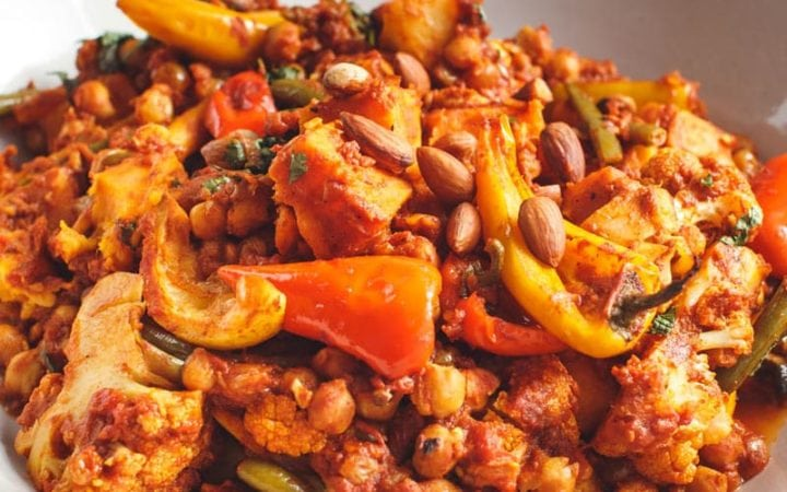 Close up of a steaming hot vegetable tagine