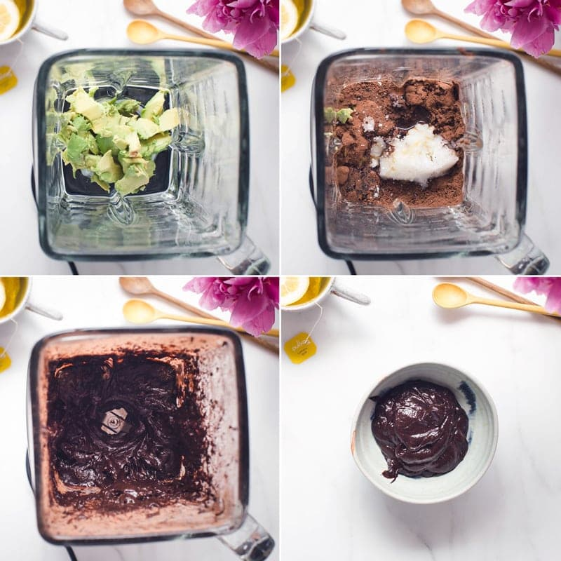 Step by step images showing how to make chocolate avocado frosting