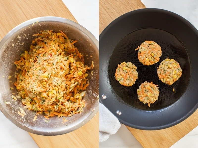 Showing the last two steps in making zucchini and corn fritters