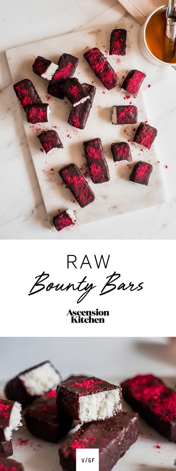 Healthy raw bounty bars dipped in homemade raw chocolate. Healthy bounty bars, raw bounty bars recipe. #AscensionKitchen   // Pin to your own inspiration board! //