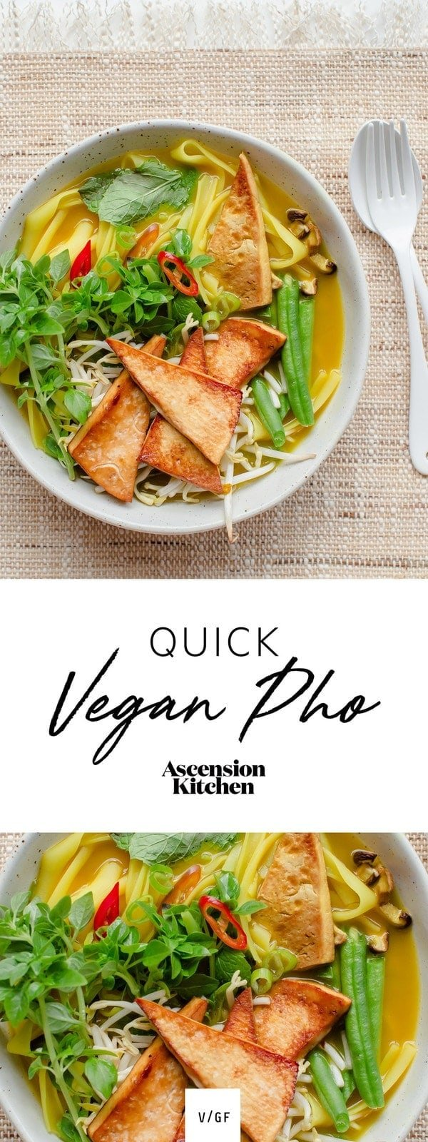 Quick, 30 minute Vegan Pho – made with a plant-based, aromatic broth, shiitake and spiced tofu with lots of fresh herbs. #veganpho #vegetarianpho #easypho #quickpho #veganbroth #vegan #AscensionKitchen   // Pin to your own inspiration board! //
