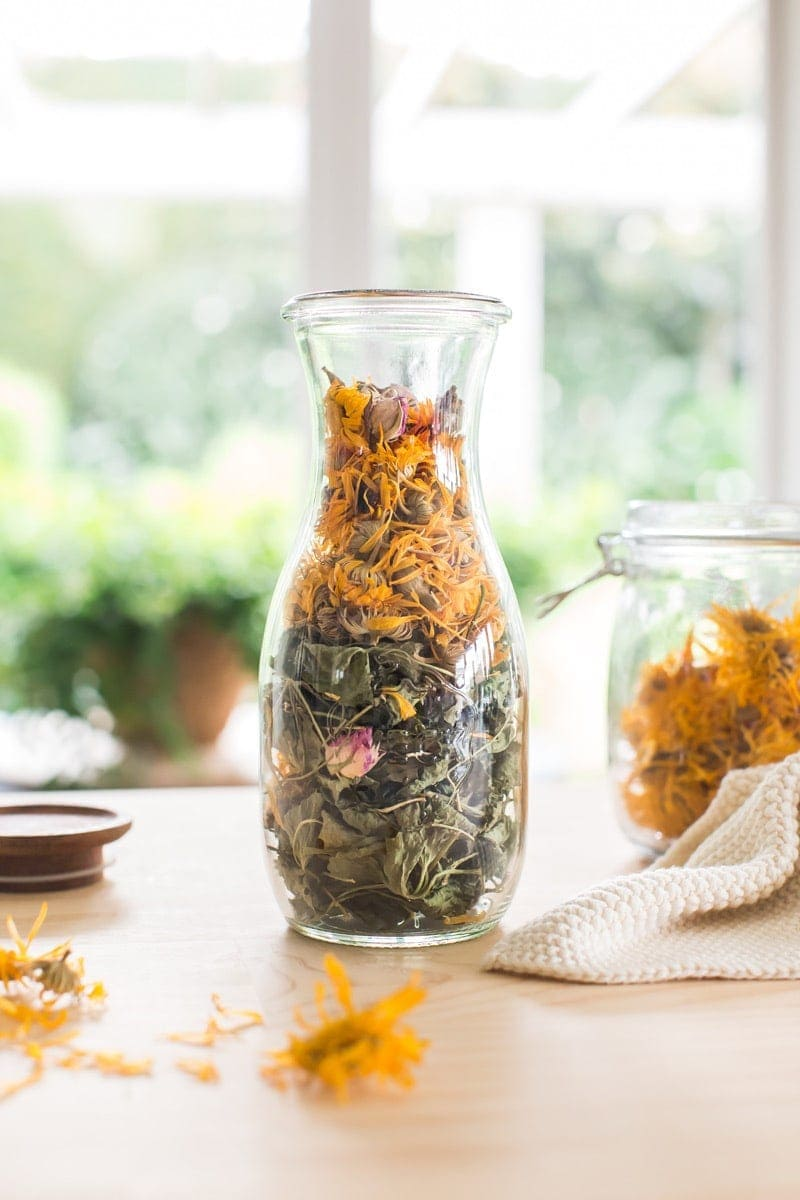Jar filled with gotu kola and calendula ready to make a DIY body oil