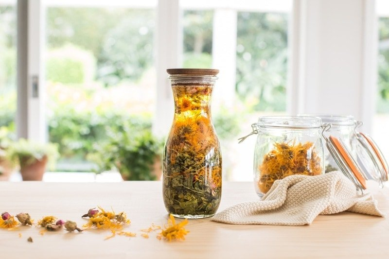 A beautiful bottle of herbal infused oil for dry skin on the kitchen bench, surrounded by dried calendula