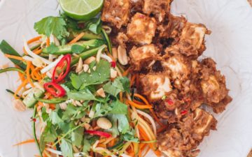 Creamy satay tofu with a salad