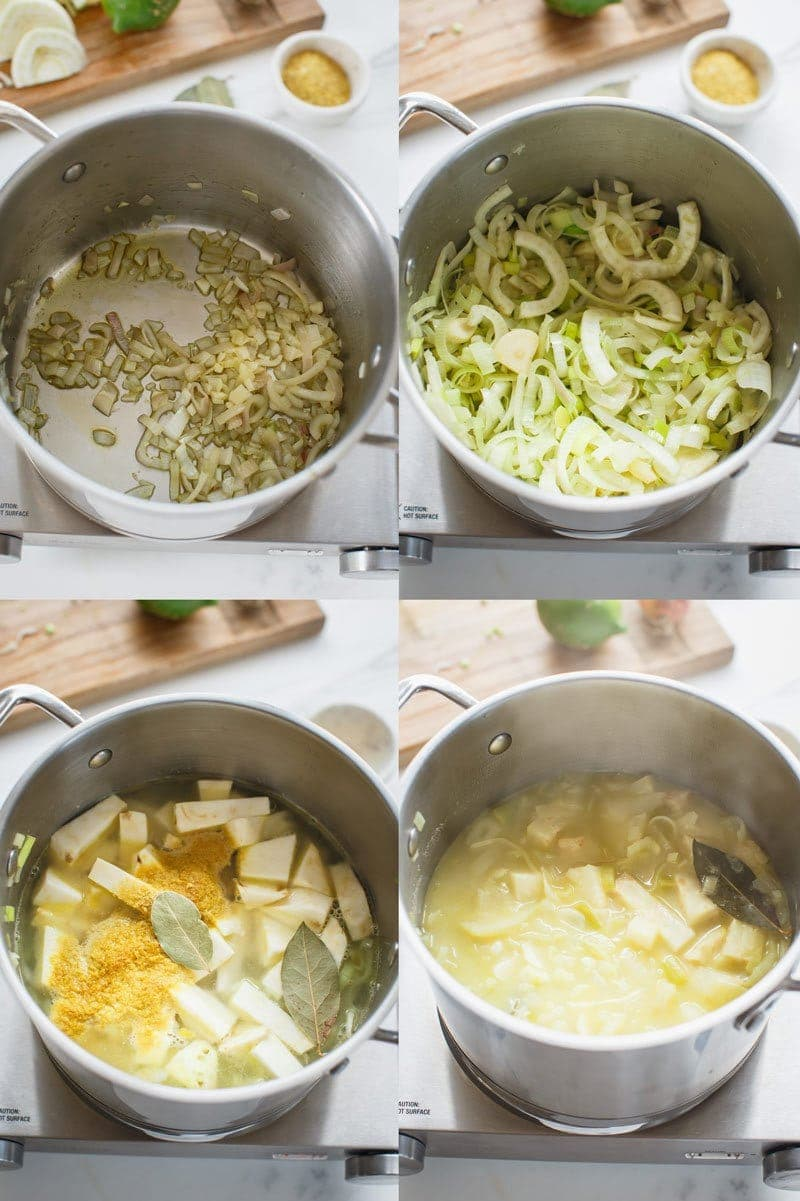 Step by step guide showing how to prepare a creamy vegan celeriac soup