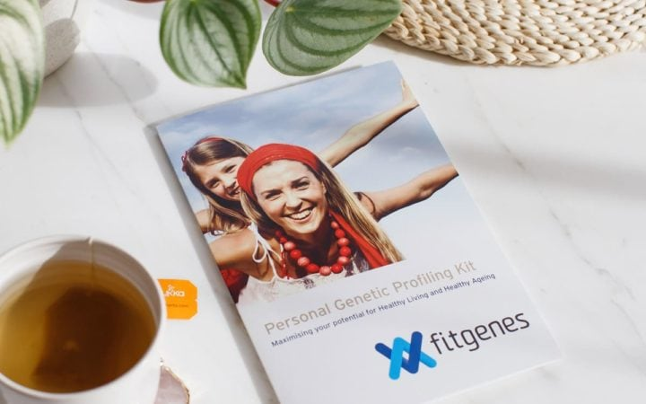 A FitGenes brochure on the kitchen bench