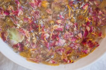Close up of a herbal facial steam for dry skin