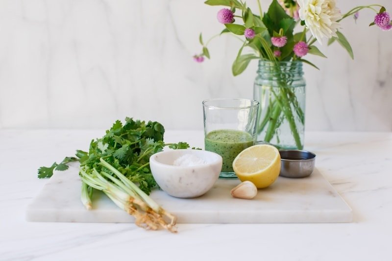 Ingredients laid out for a vegan Green Goddess dressing