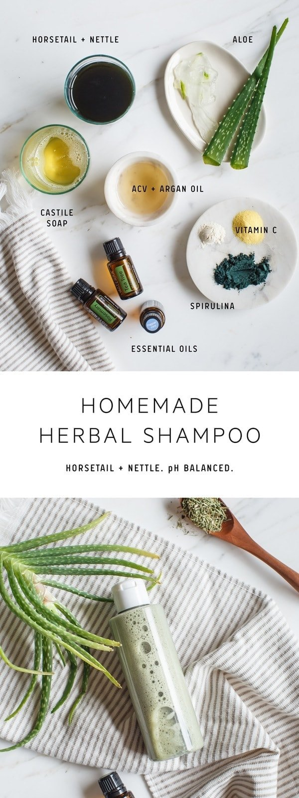 A natural, DIY shampoo made from horsetail and nettle to nourish, strengthen and promote hair growth, with spirulina, aloe vera and essential oils. #naturalshampoo #homemadeshampoo #diyshampoo #diybeauty #diyhaircare #herbalrecipes #herbalshampoo #nettle #horestail #doterra #doterrarecipes #diydoterra #AscensionKitchen