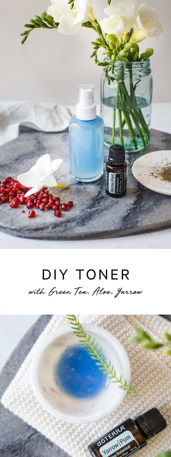 DIY toner to tighten and hydrate the skin using four natural ingredients: green tea, witch hazel, aloe and essential oils. #no-toxbeauty #diybeauty #notoxskincare #essentialoils #essentialoilsforskin #naturaltoner #naturalskincare #witchhazel #hydratig #shrinkpores #diytonerface #AscensionKitchen