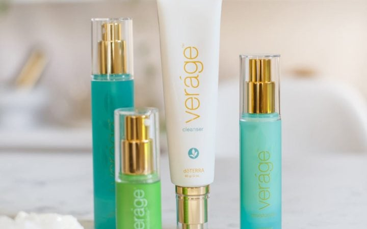 doTERRA's Verage skin care collection, bookcase with plants in the background