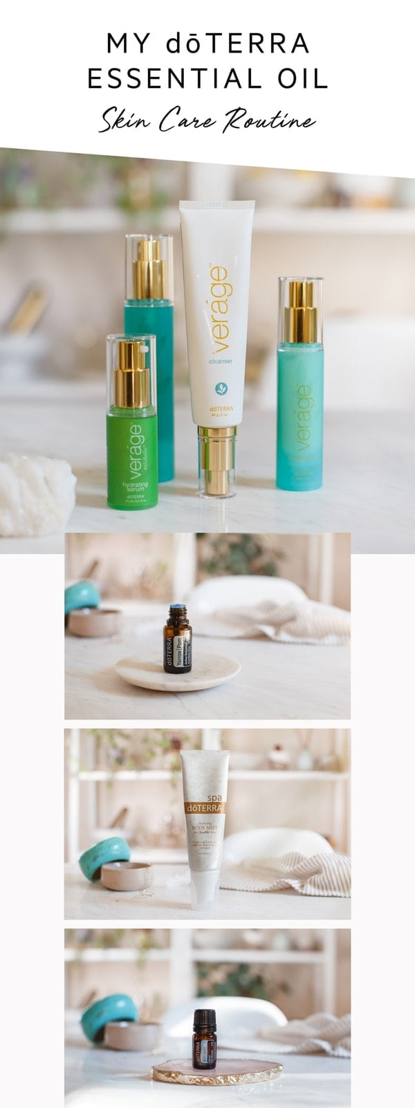 This is what my current daily essential oil skin care routine looks like, using some of doTERRA's most beautiful plant-based products and pure oils. #doterraskincare #lowtoxskincare #essentialoilsskin #essentialoilskincare #essentialoilantiaging #AscensionKitchen