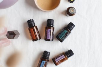 Essential oils that balance hormones on a tablecloth