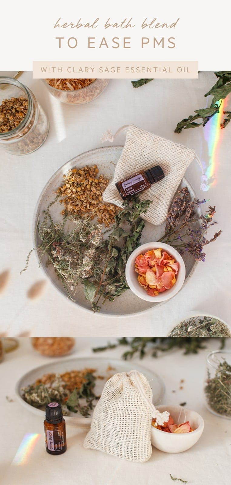 A herbal bath for PMS - a simple therapeutic recipe. #herbalbath #bathtea #herbaltea #hormones #PMS #essentialoils #doterra #AscensionKitchen