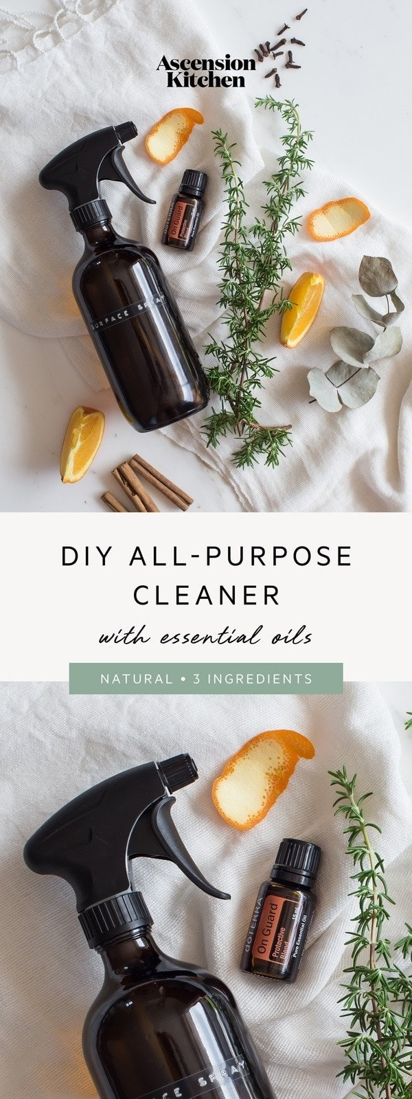 3 ingredient natural DIY all-purpose cleaner with vinegar and essential oils. Green cleaning recipe. #naturalcleaning #DIYcleaning #non-tox #greencleaning #greencleaningideas #essentialoilrecipes #essentialoilDIY #AscensionKitchen