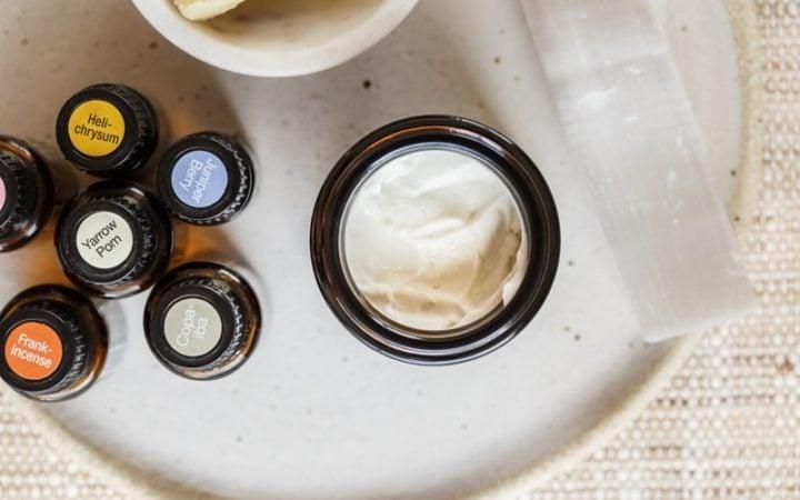 Close up of a DIY face cream in a glass jar