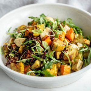Kumara Salad with an Orange Tahini Dressing - kumara are New Zealand sweet potatoes and they're just delicious. Great healthy salad idea. #Kumara #sweetpotato #healthysalad #healthysaladideas #healthymains #vegansalad #AscensionKitchen