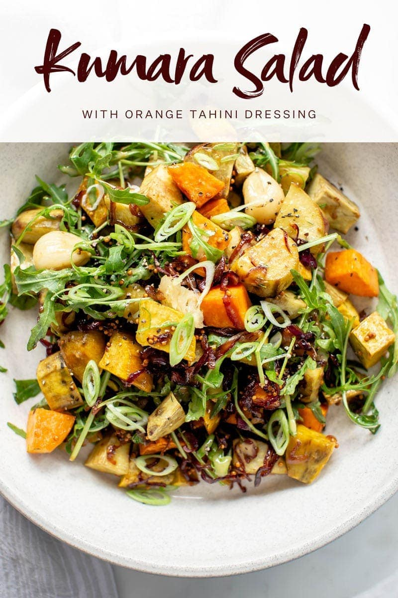 Close up of a vibrant roasted kumara salad with the recipe title across the top.