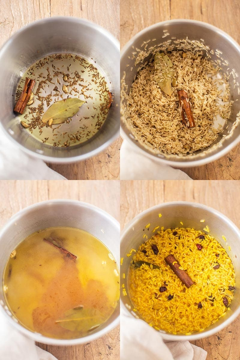 A step-by-step collage showing how to fry spices then cook basmati rice with saffron