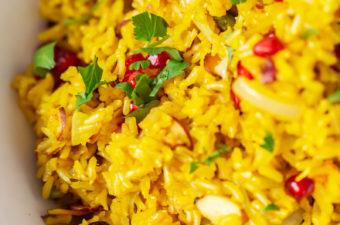 Close up of a vibrant saffron rice recipe