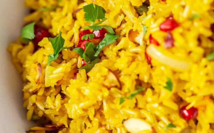 Close up of a vibrant saffron rice recipe